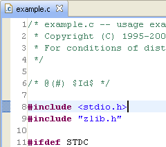 Line numbers seen in the left pane of Eclipse Editor