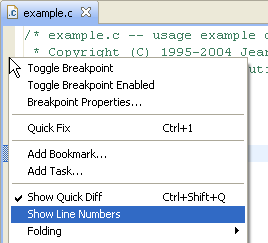 Enable line numbers with right click in Eclipse
